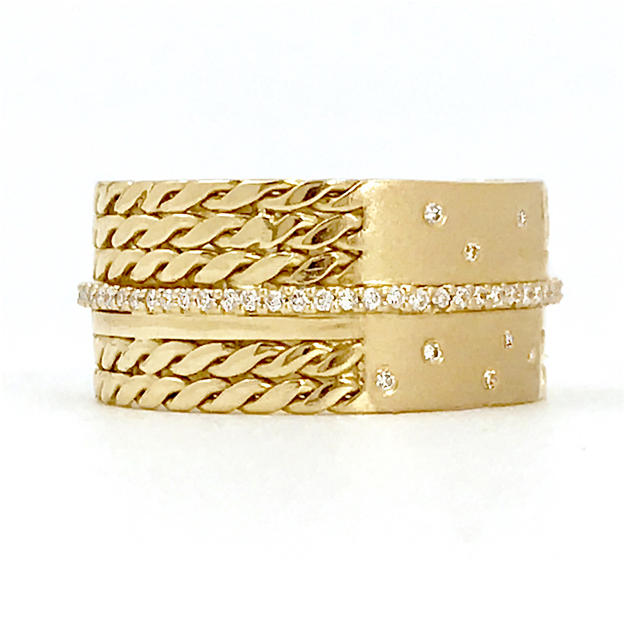 18k-Twist-Mesh-Center-Pave-Diamond-Belt-Shield-Cigar-Band-EFCR-05A