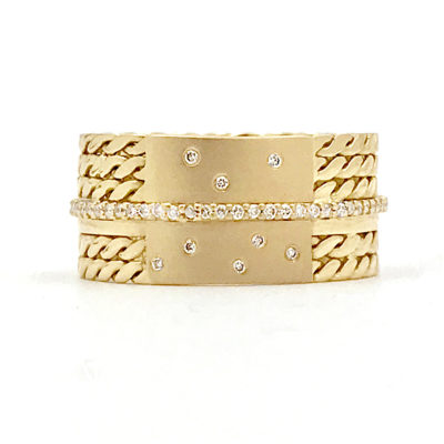 18k Twist Mesh Center Pave Diamond Belt Shield Cigar Band Same Sex ring EFCR-05K
