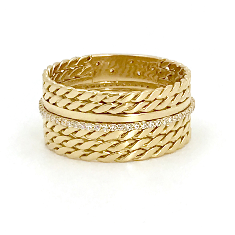 18k-Twist-Mesh-Center-Pave-Diamond-Belt-Shield-Cigar-Band-Unisex-ring-EFCR-05