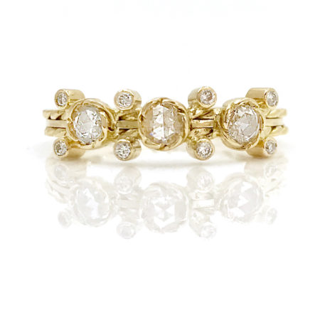18k Gold Rose Cut Diamond Three Stone Ring