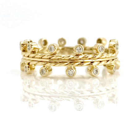 18K Gold Dotted Diamond Band Stacking Ring