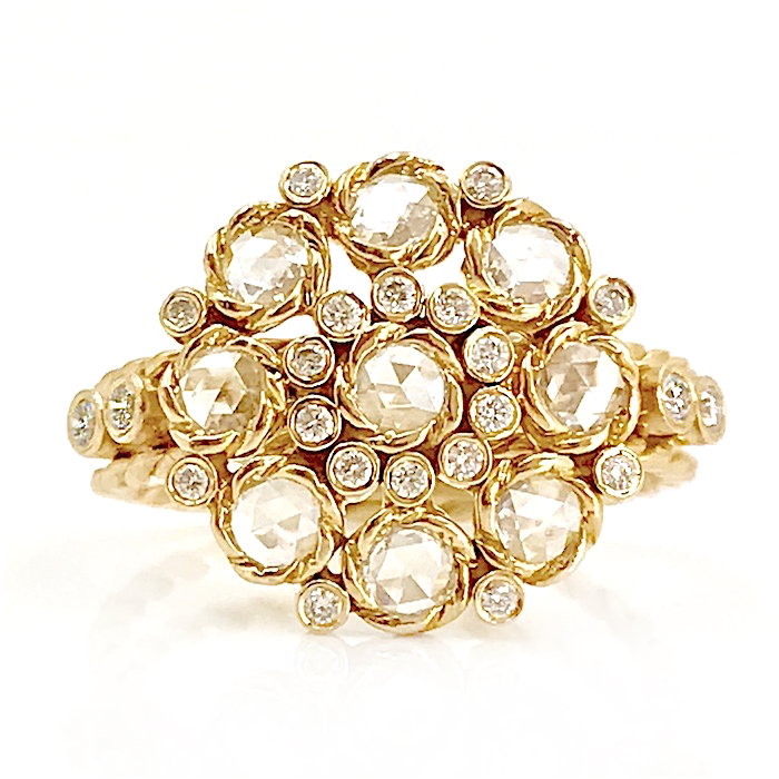 18k gold petal cup rose cut diamond cluster ring in Jewelyrie signature twist petal setting ALGR-03