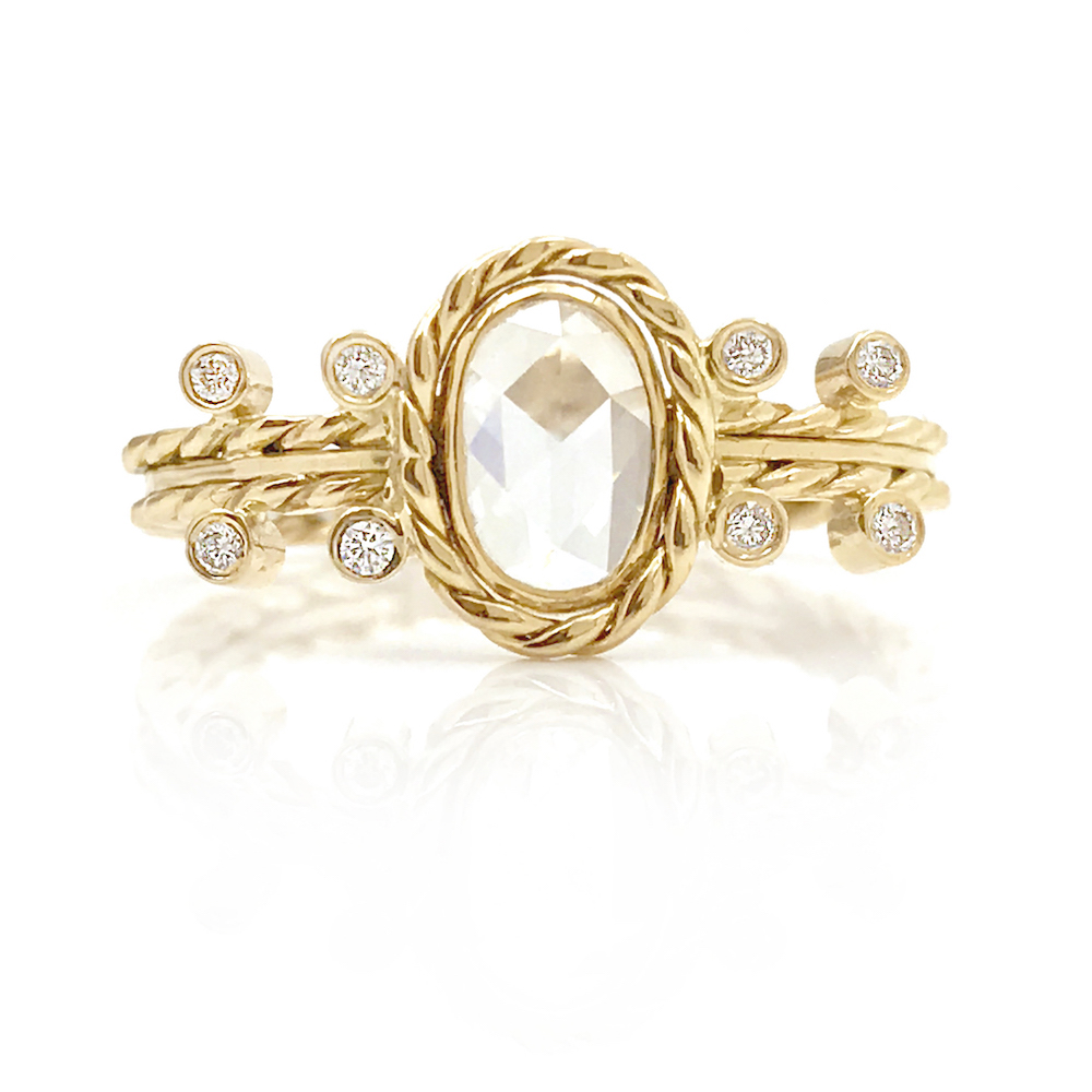 18k Gold Oval Rose Cut Diamond Solitaire