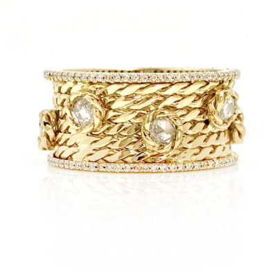 18k gold twist mesh rose cut diamond cigar band pave diamond rims jewelyrie Effacé collection EFCR-06