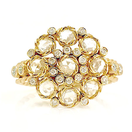 18k Gold Petal Cup Rose Cut White Diamond Cluster Ring