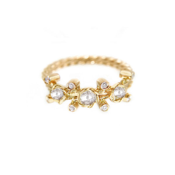 Gold Rose Cut Diamond Twist Bezel Set Three Diamond Ring in 14k and 18k by Jewelyrie