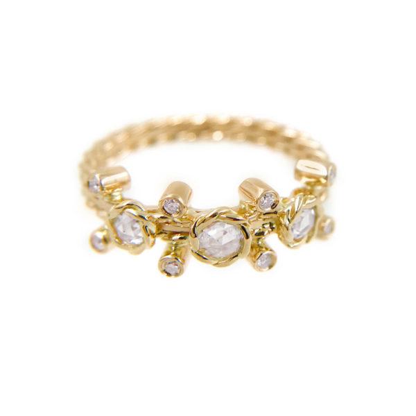 Gold Rose Cut Diamond Twist Bezel Set Three Diamond Ring in 14k and 18k by Jewelyrie