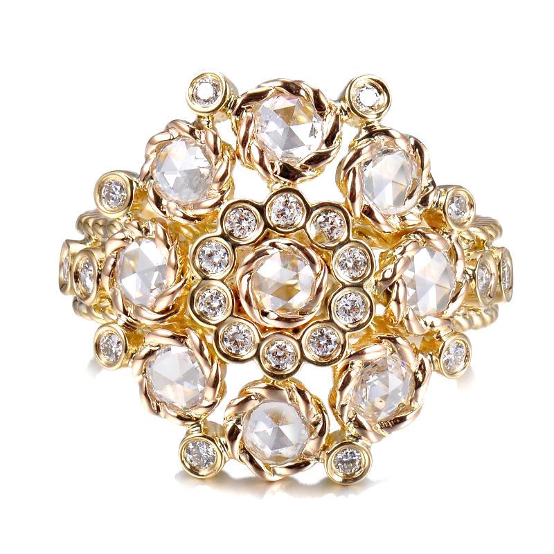 Rose Cut Diamond Bouquet Cluster Gold Cocktail Ring in 14k and 18k by JeweLyrie
