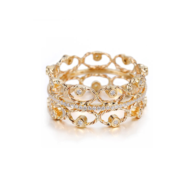 Twist Petal Diamond Tip Open Lace Pavé Line Wide Ring. Diamond tipped gold petals in Jewelyrie signature pirouette twist adorn center pavé diamond belt in 14k 18k by JeweLyrie