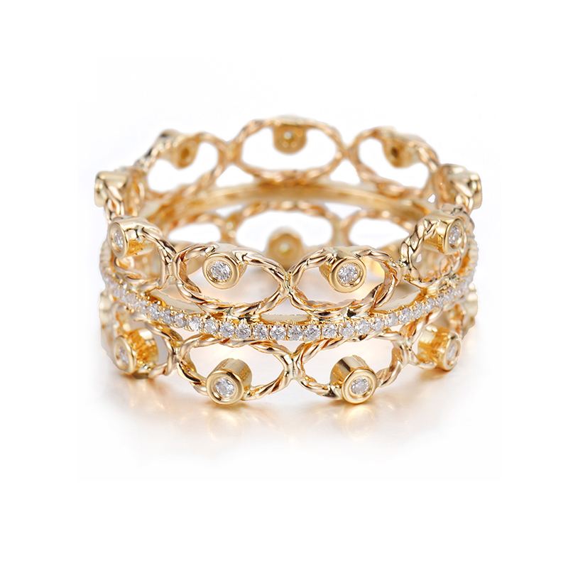 Twist Petal Diamond Tip Open Lace Pavé Line Wide Ring. Diamond tipped gold petals in Jewelyrie signature pirouette twist adorn center pavé diamond belt