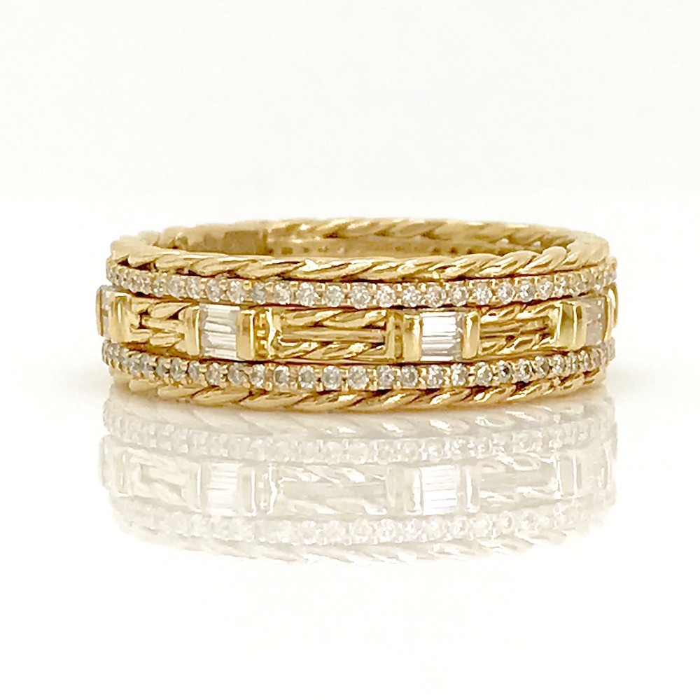 eternity diamond yellow p ring wedding m bands gold band