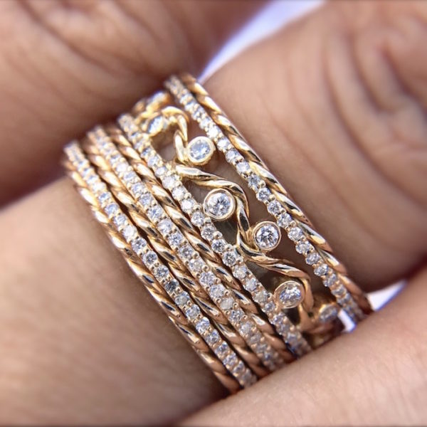 Jewelyrie Glissade collection 18k Gold Diamond Eternity Band Stacking Ring Set