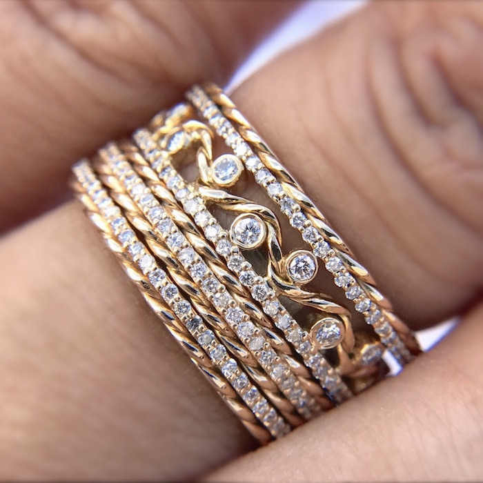 ring ct yellow bands diamond rng eternity link band cuban real miami gold