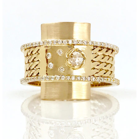 18k Gold Twist Textured Diamond Twin Belt Shield Statement Ring