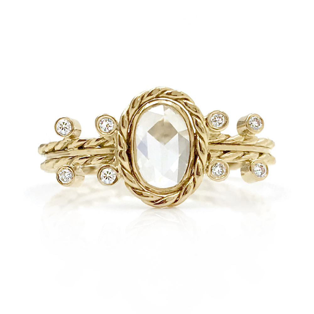 18k Gold Oval Rose Cut Diamond Solitaire promise ring 18k gold jewelyrie by huan wang CBLR-03
