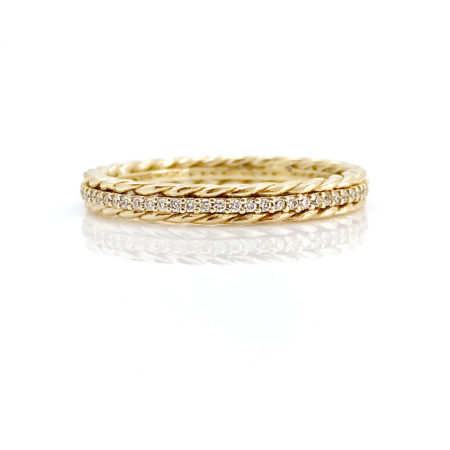 18k Gold Double Pirouette Twist Diamond Eternity Stacking Ring