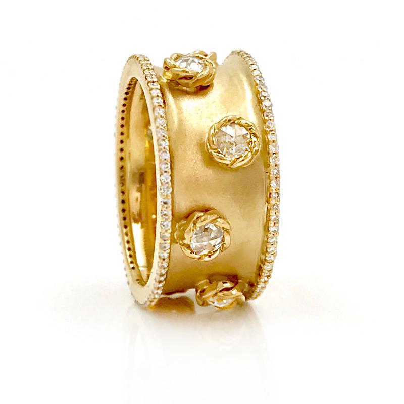 Rose Cut Diamonds 18k Satin Concave Cigar Band Unisex Ring