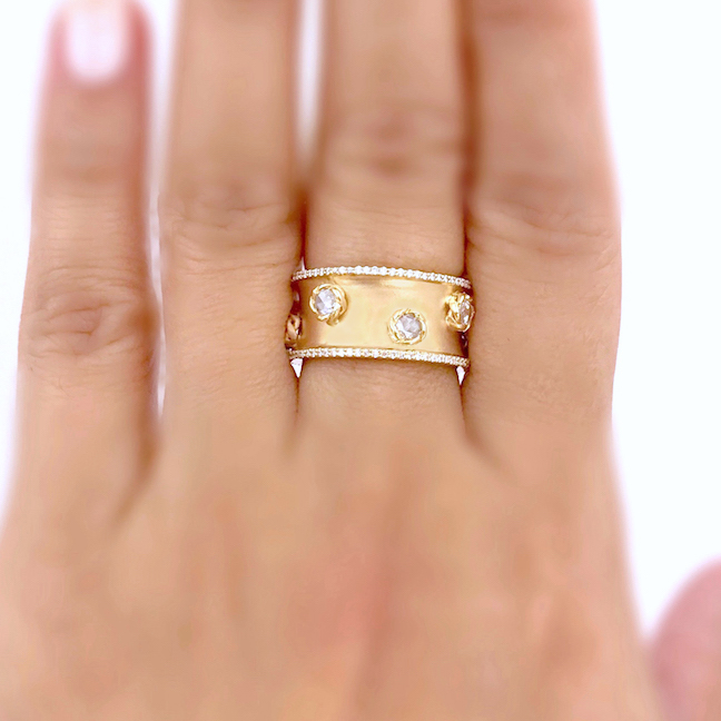 Rose-Cut-Diamonds-18k-Gold-Satin-Concave-Wide-Cigar-Band-Unisex-Ring-EFCR-07B
