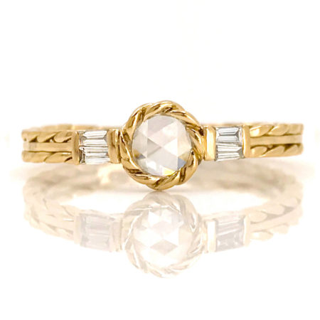 18k Gold White Diamond Solitaire Baguette Side Stone Engagement Ring Jewelyrie Cabriole CBLR-07