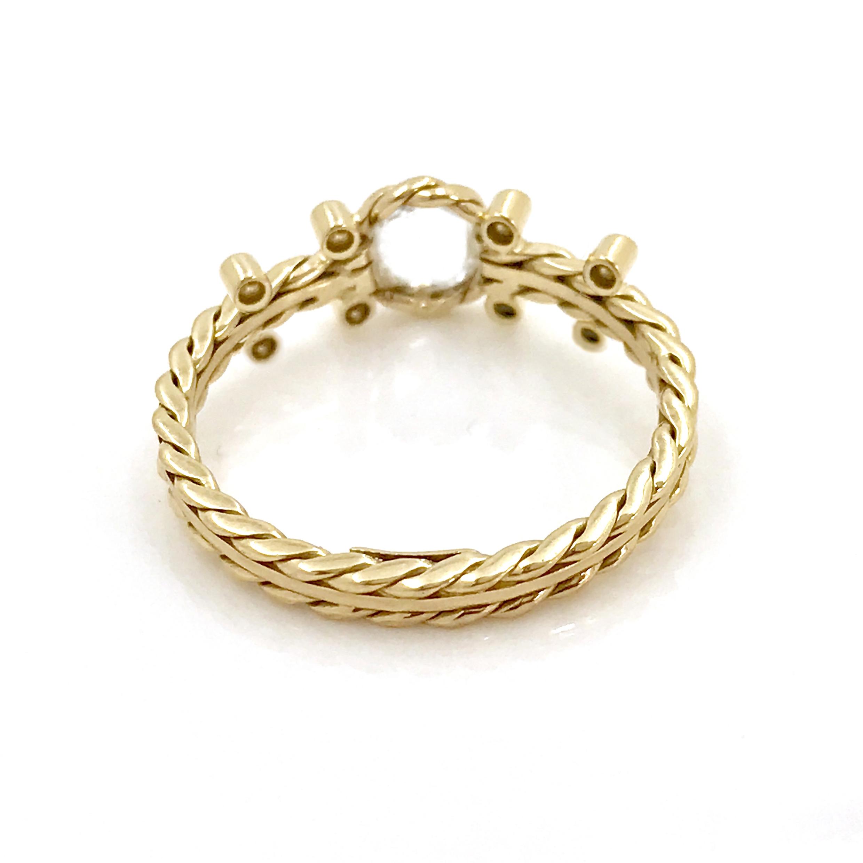 Handmade 18k Gold Rose Cut White Diamond Solitaire Engagement Ring