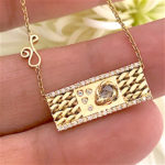 Rose Cut Diamond 18k Gold Twist Textured Slider Tab Pendant