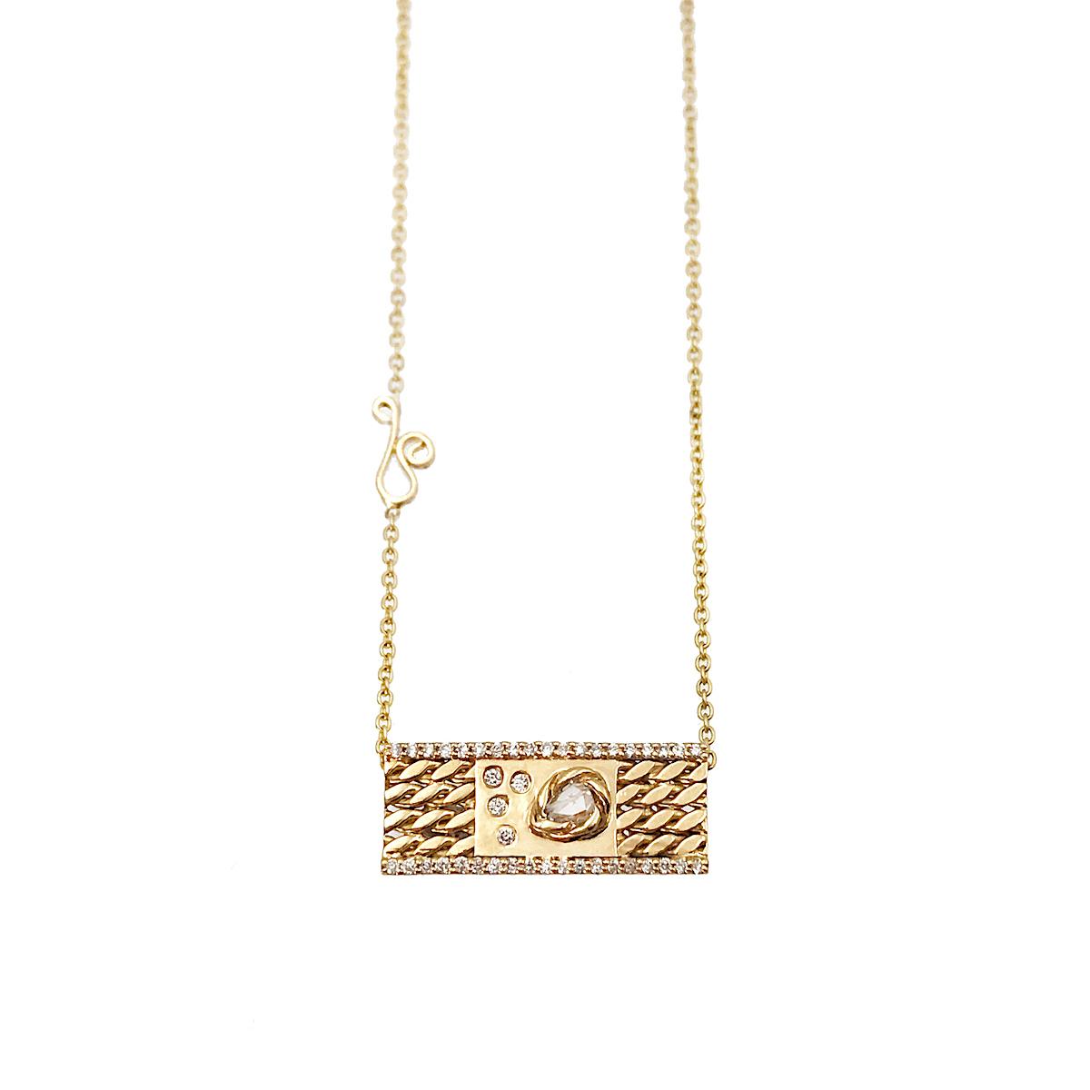 rose-cut-diamond-18k-gold-twist-textured-slider-tab-pendant-EFCP-04
