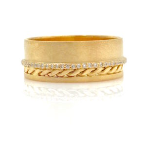 Slim Pave Diamond Line 18k Twist Accent Satin Cigar Band featuring a slim pave diamond eternity rings runs across Satin finished wide band that's trimmed with signature Pirouette Twist accent, understated yet elegant and chic.