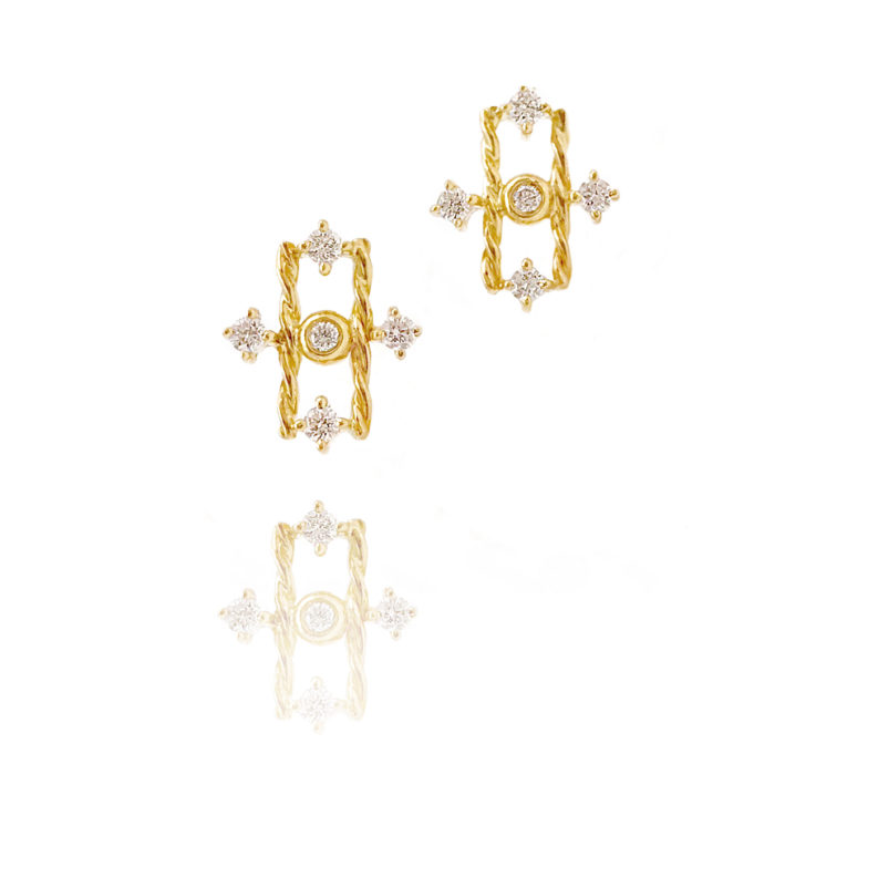 Diamond Open Bar Studs | JeweLyrie - Everyday Elegance