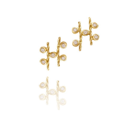 18k Gold Diamond Five Star Twist Stud Earrings form Jewelyrie Tulle Collection By Huan Wang