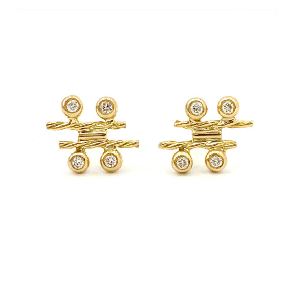 18k Gold Diamond Four Star Twist Bar Stud Earrings combine bezel set diamonds with Jewelyrie's signature touch of Pirouette Twist
