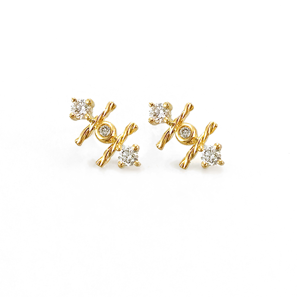 product set diamond in three bezel sale stone ctw earrings ambajewel stud yellow