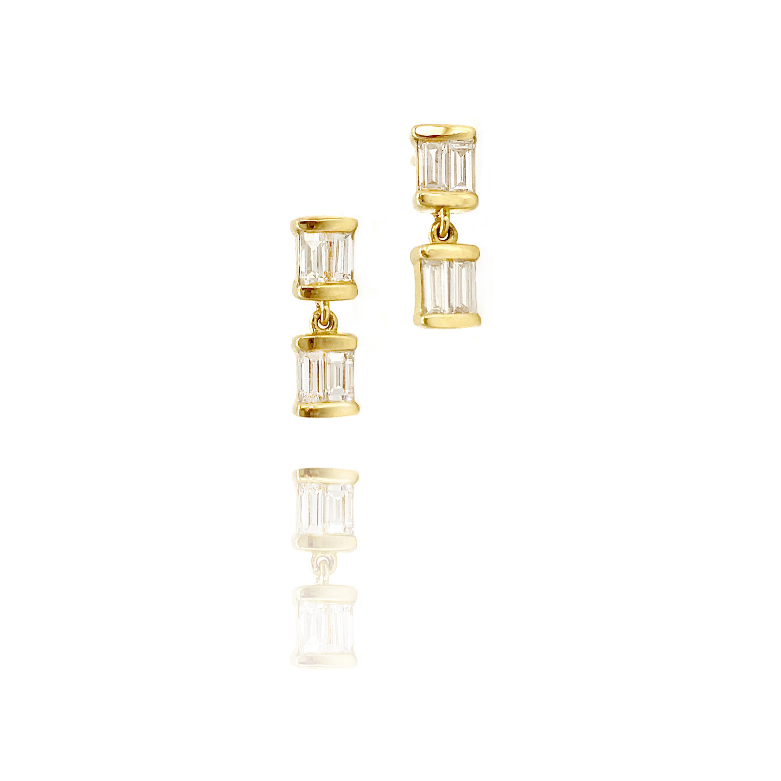 18k Gold Double Baguette Diamond Dangle Stud Earrings From Tulle Collection by Jewelyrie