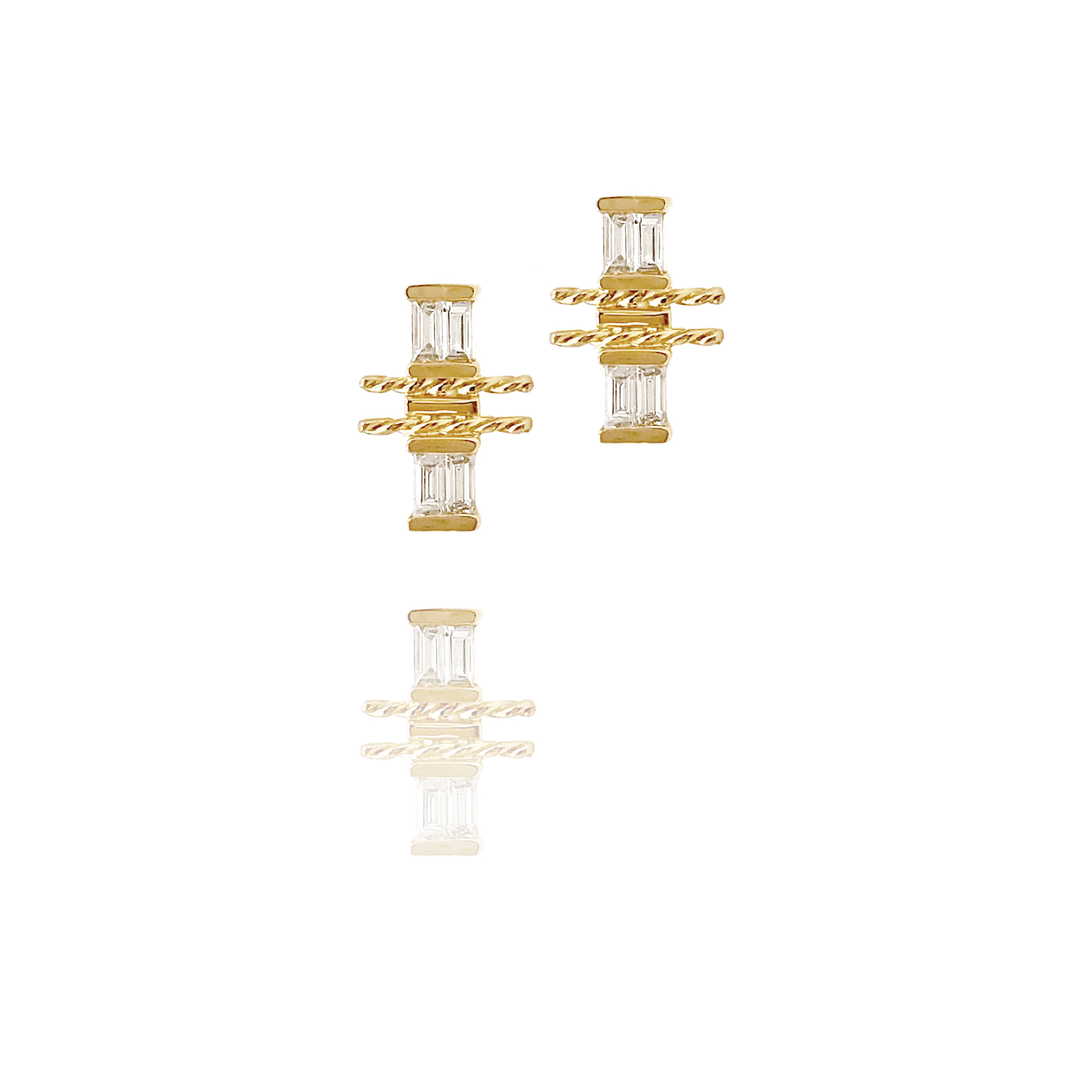 18k Gold Flank Baguette Diamond Twist Stud Earrings from JeweLyrie Tulle Collection by Huan Wang