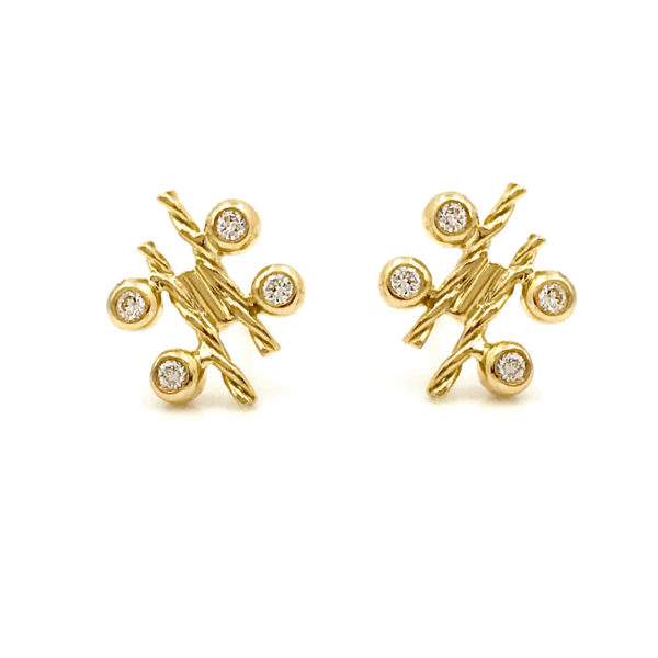 18k Gold Diamond Four Star Twist Bar Stud Earrings combine bezel set diamonds with Jewelyrie's signature touch of Pirouette Twist.