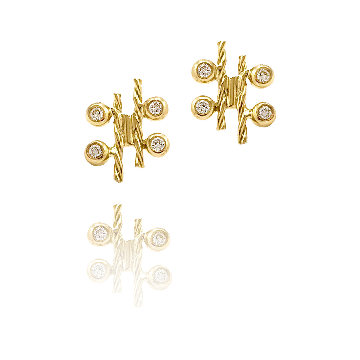 18k-gold-diamond-four-star-twist-bar-stud-earrings-SIS copy