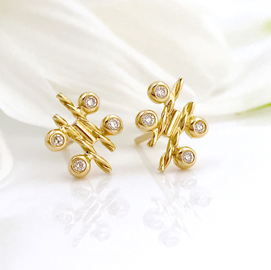 earring plate stud store hammered round plated gold disc index