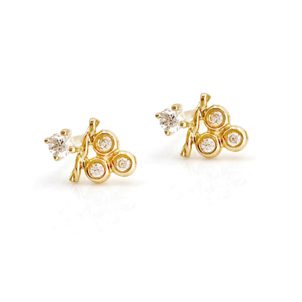 18k Gold Petite Diamond Cluster Stud Earrings