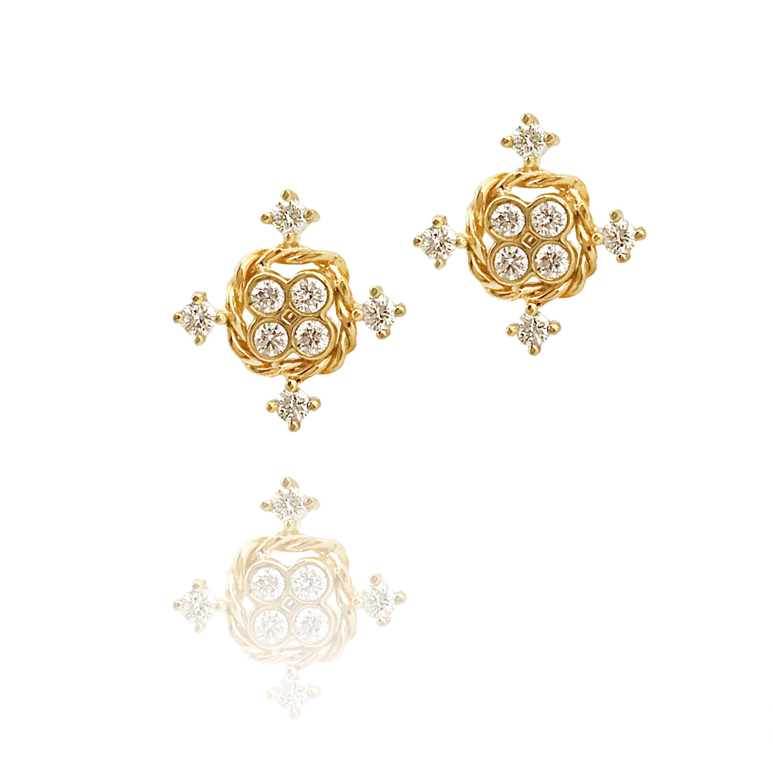 18k Gold Diamond Four Star Twist Box Stud Earrings
