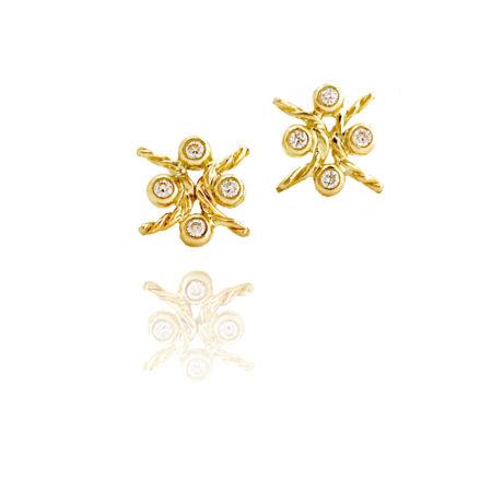 18k Gold Diamond Four Star Open Twist Stud Earrings