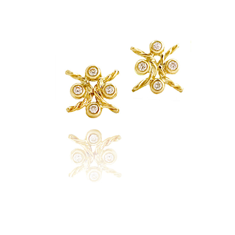 Four Diamond Cluster Studs 18k Gold Earrings with Crossing Twist
