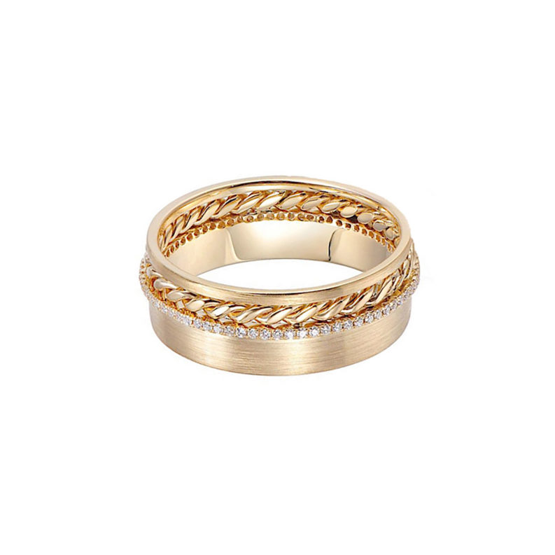 slim pave diamond line 18k twist accent satin cigar band same sex ring