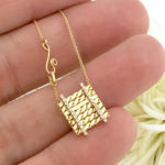Double Pave Diamond Line 18k Twist Textured Slider Tab Pendant From JeweLyrie Efface Collection by Huan Wang