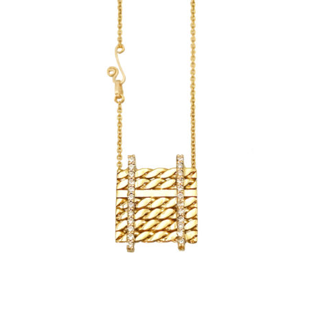 Double Pave Diamond Line 18k Twist Textured Slider Square Pendant From JeweLyrie by Huan Wang