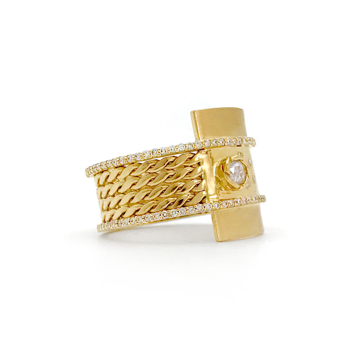 Moon-Star-18k-Gold-Textured-Twist-Mesh-Double-Pave-Diamond-Belt-Shield-Statement-Ring-Rpose-Cut-Center-Stone-EFCR-04