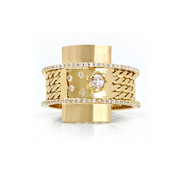 18k Gold Twist Textured Diamond Twin Belt Shield Statement Ring