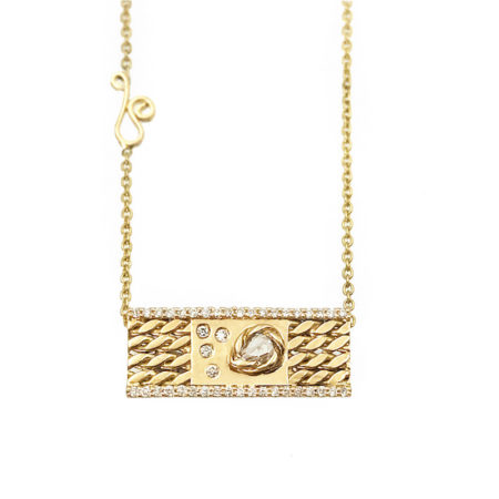 Pear Rose Cut Diamond 18k Twist Textured Slider Bar Pendant