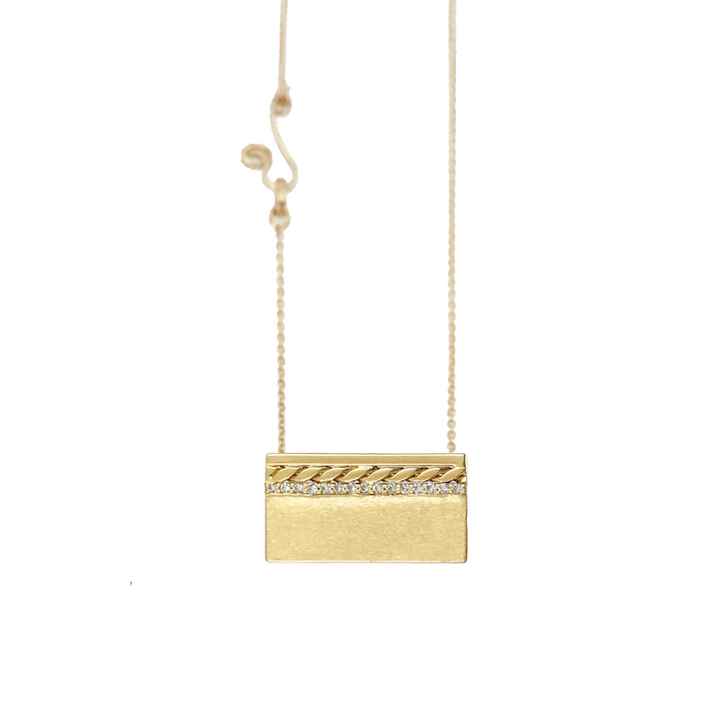 Pave Diamond Line 18k Twist Accent Satin Slider Tab Pendant From JeweLyrie Efface Collection