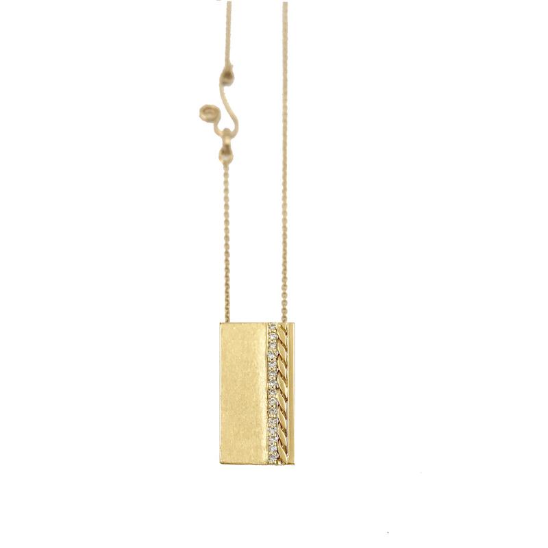 Slim Pave Diamond Line 18k Twist Accent Satin Slider Tab Pendan Vertical EFCP-02
