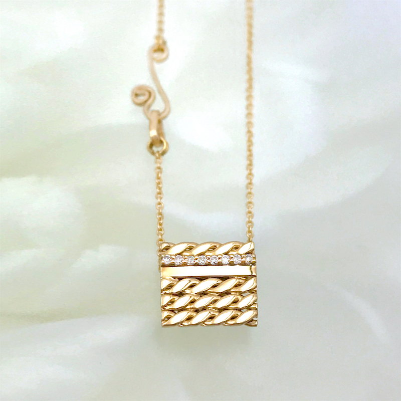 Slim-Pave-Diamond-Line-18k-Twist-Textured-Slider-Square-Tab-Pendant-EFCP-03S-C