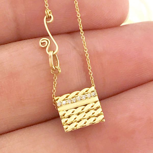 Pave Diamond Line 18k Twist Textured Slider Square Tab Pendant From Efface Collection by Huan Wang